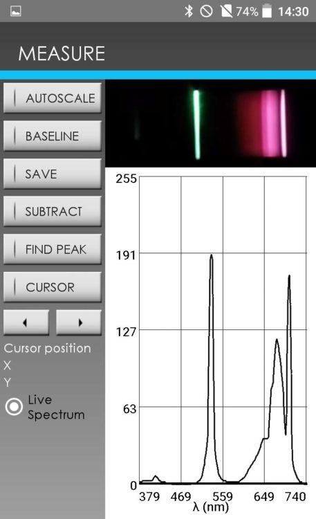 Figure 6 – Capture d'écran du GoSpectro montrant un spectre de fluorescence sur le rubis excité par un pointeur laser à une longueur d'onde de 532 nm