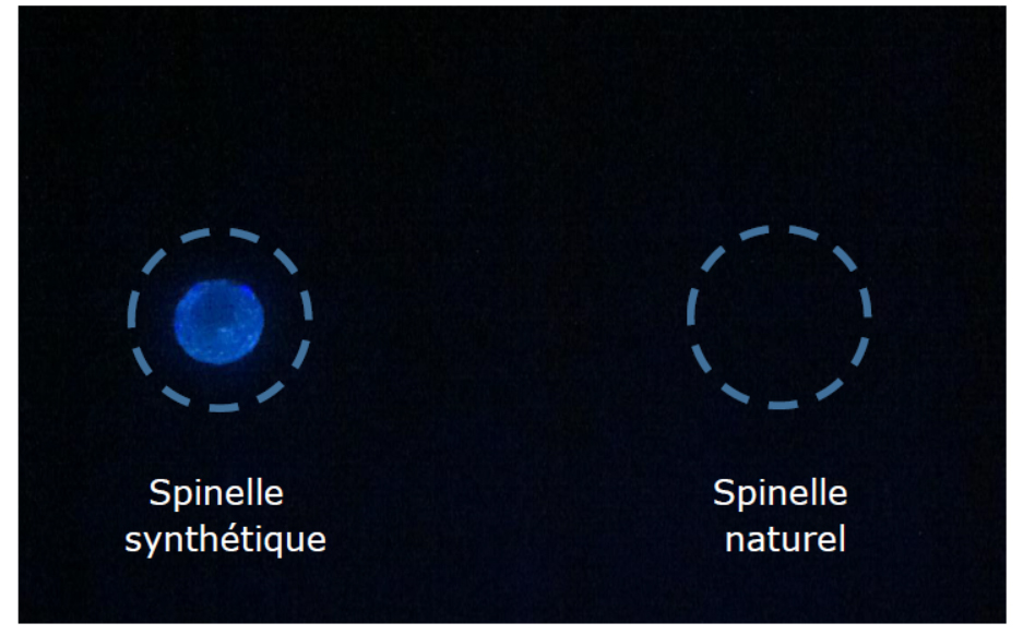 Figure 7 – Photographie de spinelle synthétique et de spinelle naturel sous lampe UV